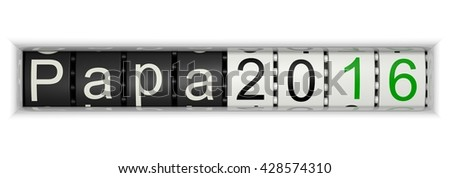 Counter with Papa 2016, 3D Illustration - stock photo