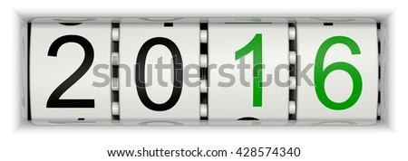 Counter with Year 2016, 3D Illustration - stock photo