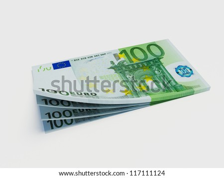 Counting banknotes of 100 Euro on the white background - stock photo