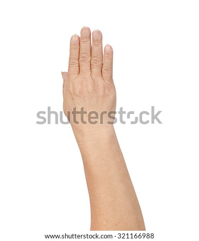 counting elderly hand on white background - stock photo
