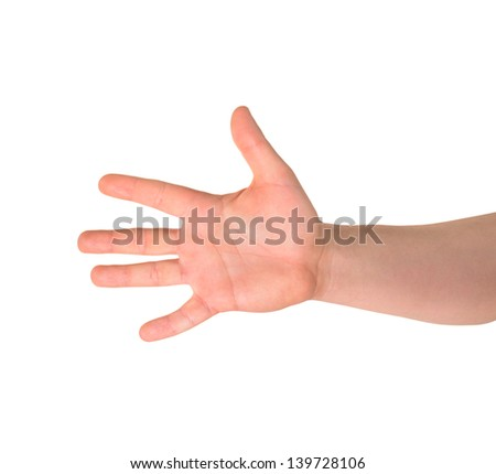 Counting: five finger sign as caucasian hand gesture isolated over white background