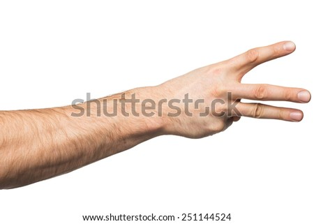 Counting gesture, male hand showing three fingers, isolated on white background - stock photo