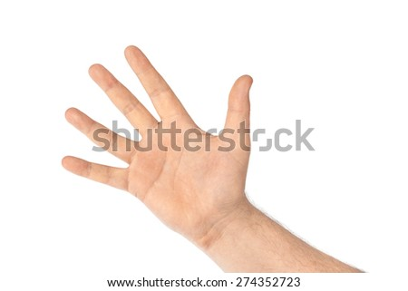 Counting hand - five - isolated on white background