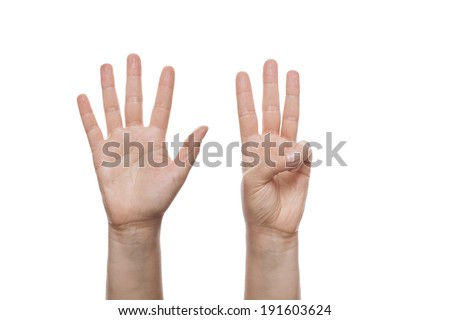 Counting Hands isolated over white background  - stock photo