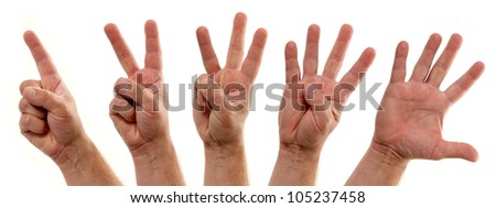 Counting Hands Number One to Five - stock photo