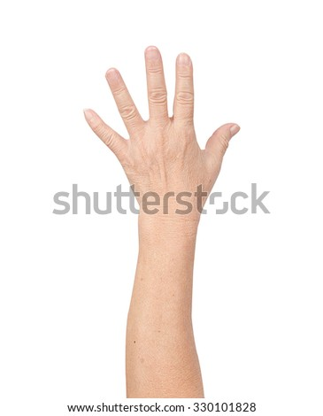 Counting hands on white background - stock photo