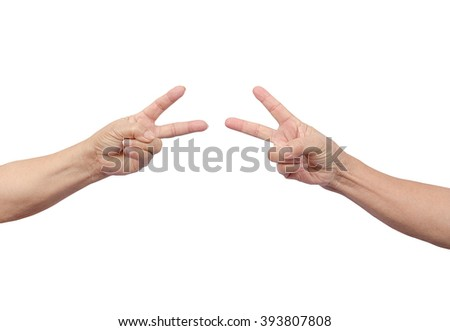 Counting hands on white background, with clipping path - stock photo