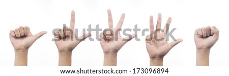 Counting man hands (6 to 0) isolated on white background