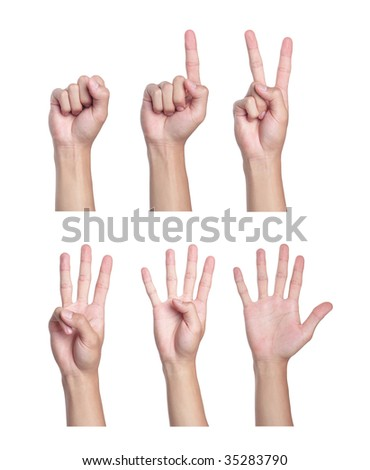 Counting men hands (0 to 5) - stock photo