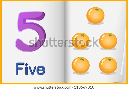 Counting number illustration sheet in book - stock photo