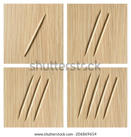 counting 1 to 4  by toothpick - stock photo