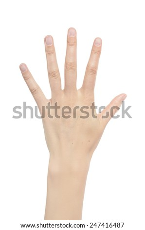 Counting woman hands five isolated on white background.