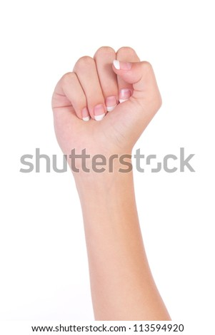 Counting woman hands (0) isolated on white background