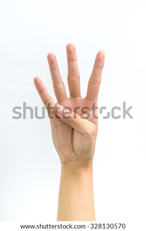 Counting woman hands on white background - stock photo