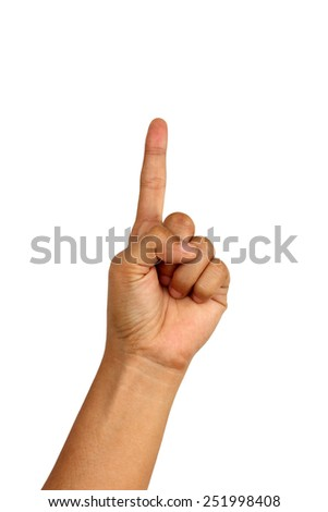 Counting woman hands one isolated on white background - stock photo