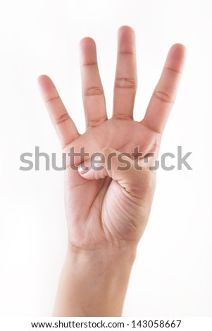 Counting woman hands one to four isolated on white background