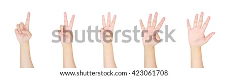 counting woman hands sign isolated on white background