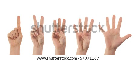 Counting woman hands (1 to 5) isolated on white background - stock photo