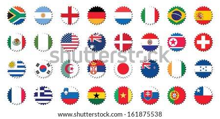 countries badges in sticker form