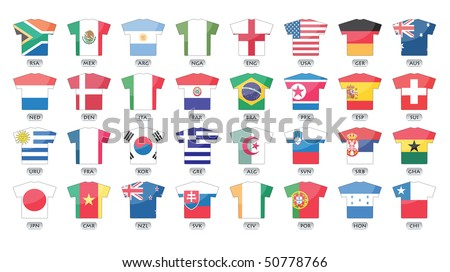 countries flags icons in jersey design, for international games.