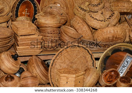 Countries in southeast asia are famed for their handicraft works from basketry, wood carvings, paintings to batik printing / Handicraft background / A must visit for tourists to these regions - stock photo