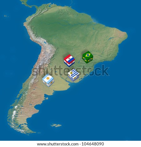 "Countries of ""Mercosul Mercado Comum do Sul"" and blocks with flags. Elements of this image furnished by NASA. - stock photo"