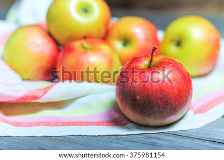 Country Apples . Washed before preparing the cake . Shallow DOF - stock photo