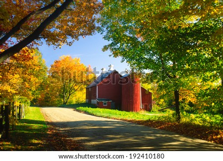 Country barn on an autumn afternoon., Stowe, Vermont, USA - stock photo
