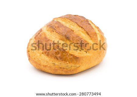 Country Bread on White Background.