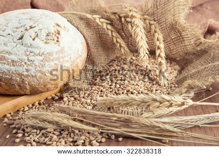 Country Bread With Flour And Grain