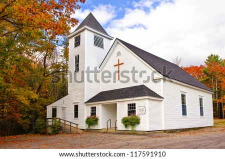 Country church in New England - stock photo