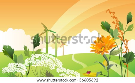 Country eco landscape. Raster version of vector illustration. - stock photo