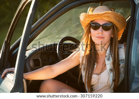 country fashion woman on a roadtrip - stock photo