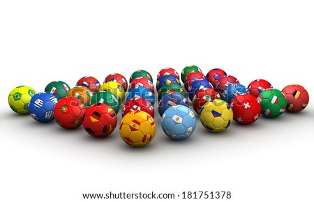 Country flag soccer balls 3d illustration - stock photo