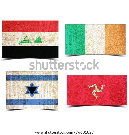 Country flag with grunge old rusty paper iraq ireland israel isle of the man