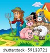 Country girl with farm animals - color illustration. - stock photo