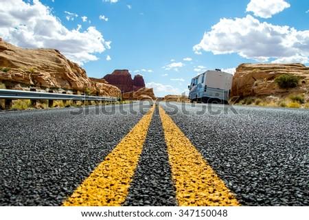 Country highway in Arizona, USA, travel adventure concept. - stock photo