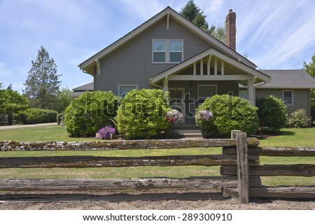 Country home and flower decoration in rural Oregon. - stock photo