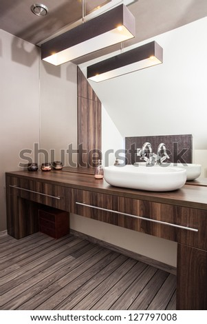 Country home - interior of wooden and modern bathroom
