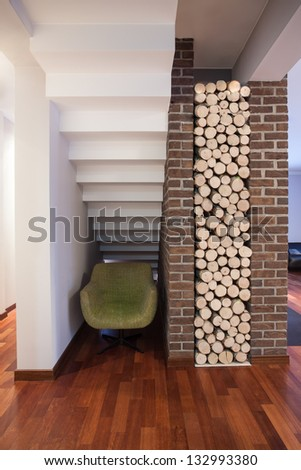 Country home - pieces of wood ready for fireplace - stock photo