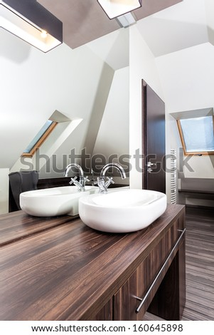 Country home - stylish sink in wooden bathroom - stock photo