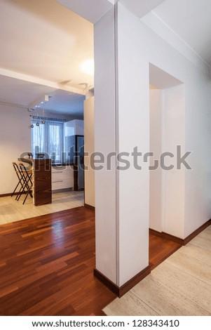 Country home - white pillar in corridor in modern house - stock photo
