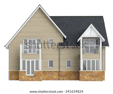 Country house high roof, front view. 3D graphic object isolated on white background - stock photo