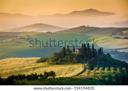 Country house in Tuscany, summer morning, landscape - Italy - stock photo