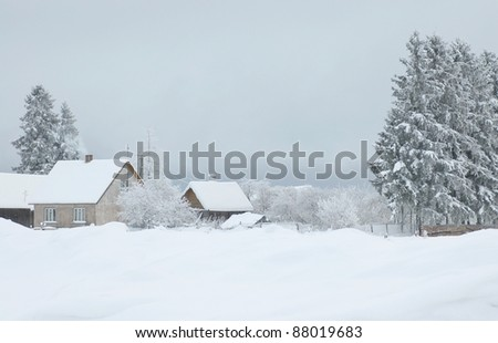Country house in winter time