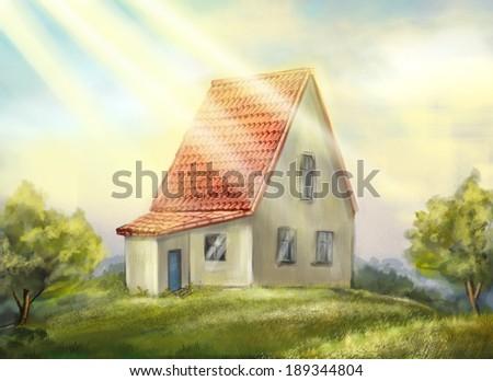 Country house. sunny morning. Author illustration - stock photo