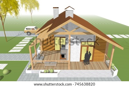 country house, terrace with fireplace, 3d illustration