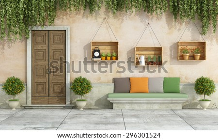 Country house with old door,stone bench , colorful cushion - 3D Rendering - stock photo