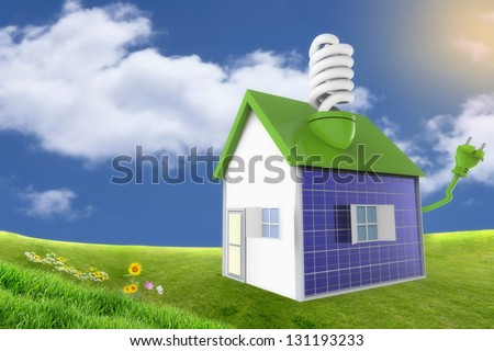 Country house with solar panels