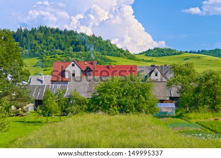 Country houses in the Pieniny mountains near the Poland and Slovakia border.